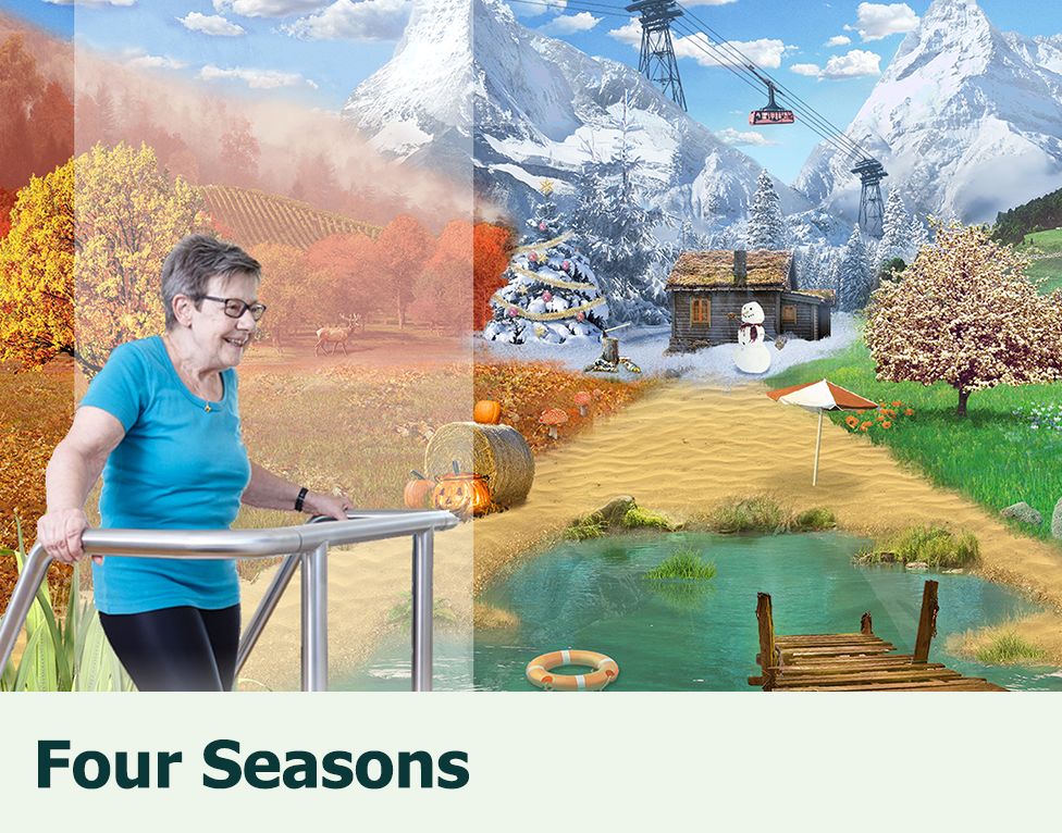 Four Seasons: Cognitive-motor training game for fall prevention of older adults with an impaired mobility, using the Dividat Senso Plate.