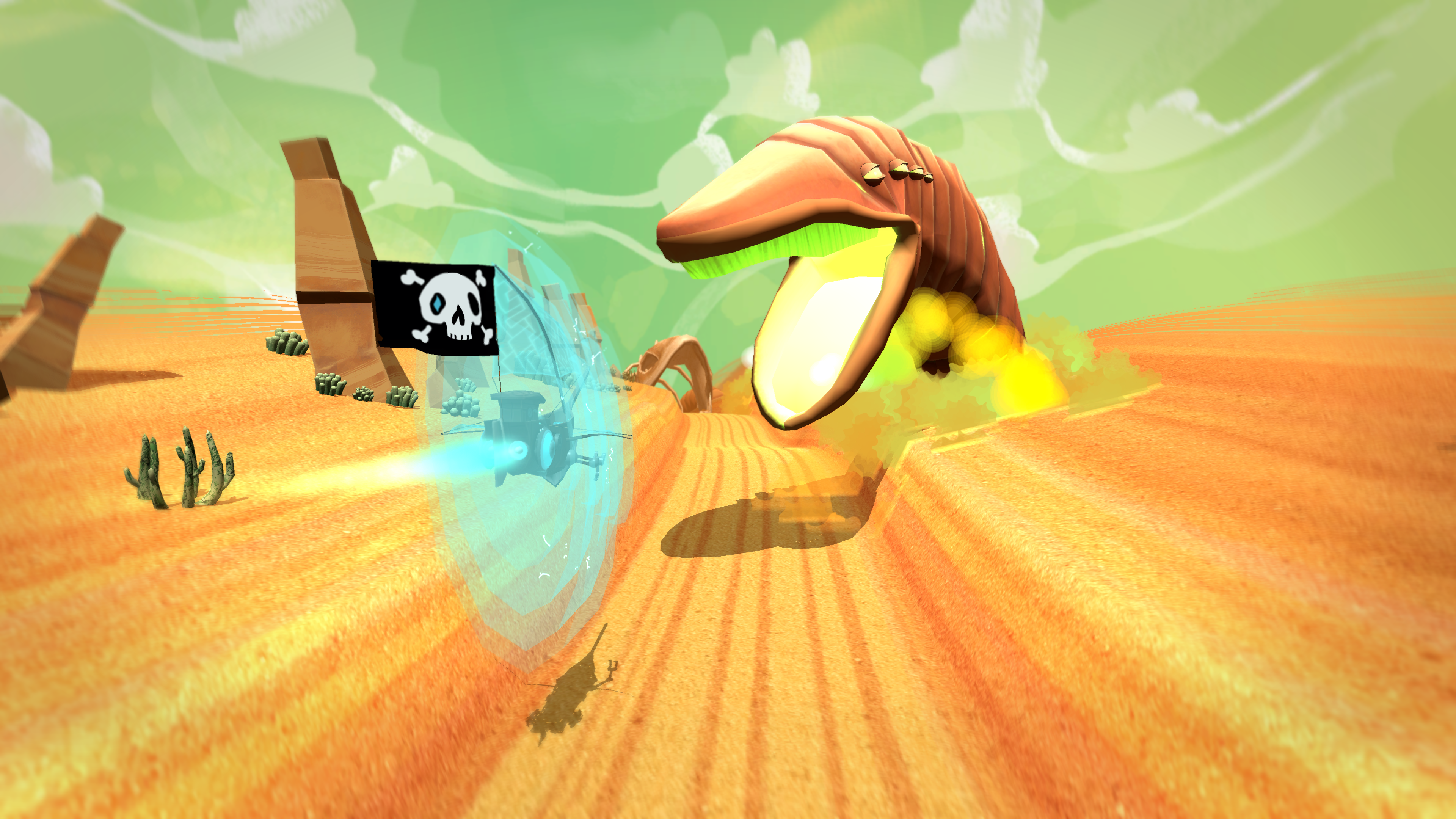 The game itself is about a flying in a space pirate ship on a desert planet, searching for precious gemstones.
