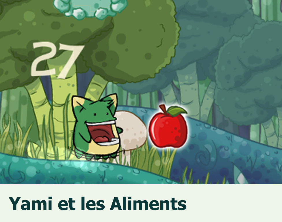 Yami et les Aliments: Fun and cute one-button game for children to learn about calories and balanced nutrition.
