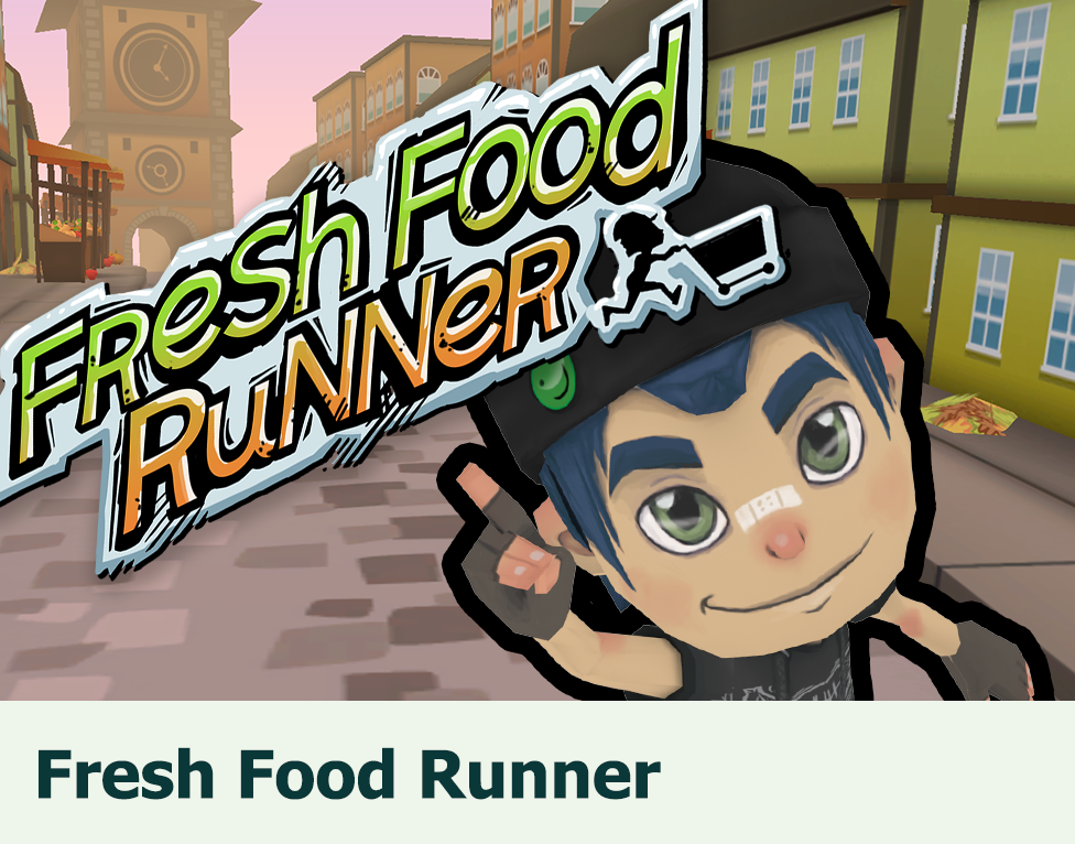 Fresh Food Runner: Fast learning game about the seasonality of fruit and vegetables with a shopping cart with rocket boosters.