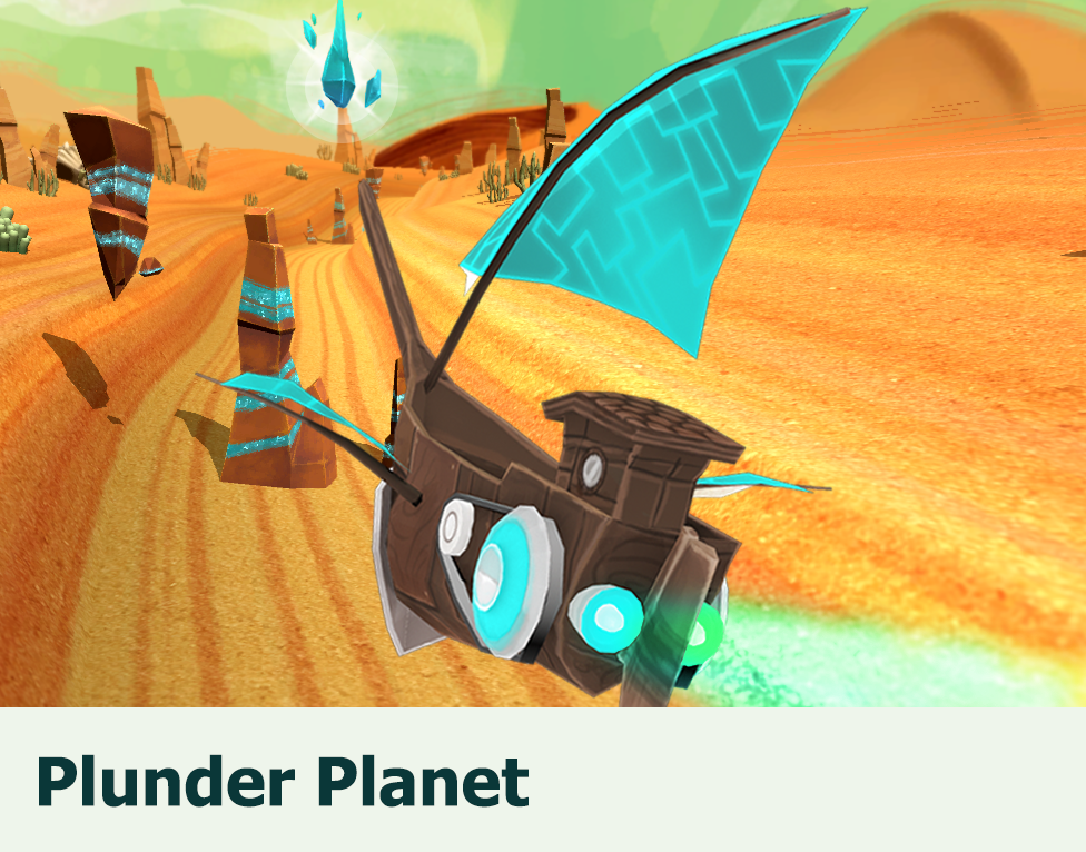 Plunder Planet: Fitness game, that adapts to the player's mental and physical stress while steering a spaceship through an alien desert.
